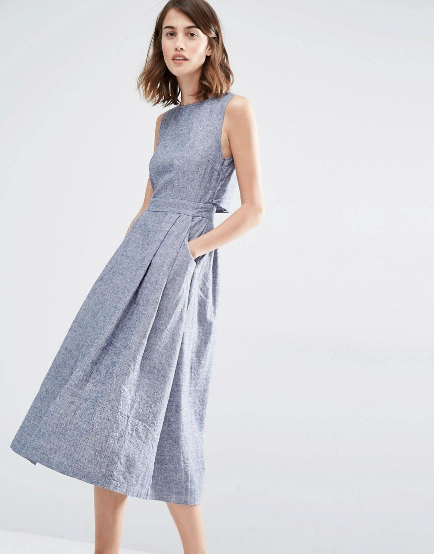 de8959e592a Warehouse Open Back Linen Mix Midi Dress