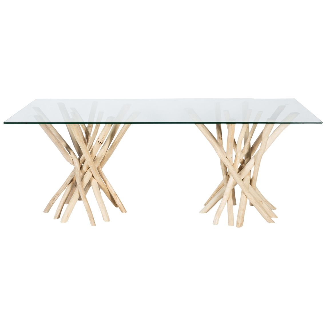 natural semarang glass top dining table with teak branch base rh pinterest com