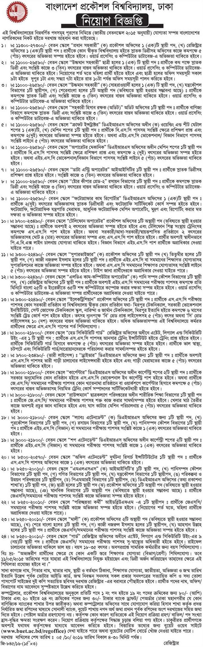 Bangladesh Engineering University Job Circular  Job Circular