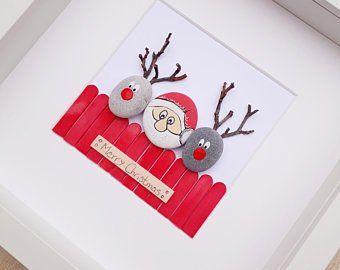Reindeer picture, Reindeer pebble art, Reindeers picture, Reindeer wall art, Reindeers Christmas picture, Reindeer wall decor, Christmas art