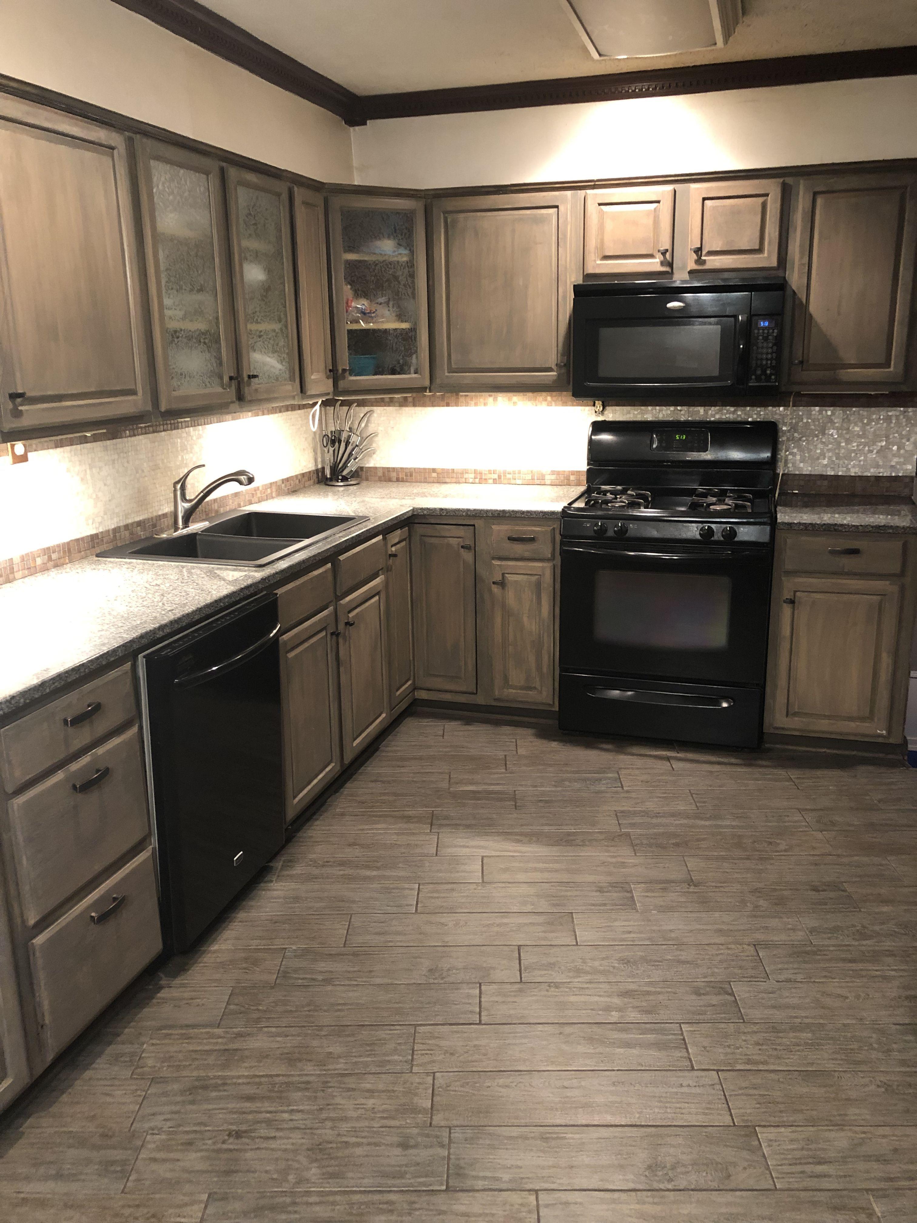 gray washed cabinets mother of pearl backsplash plank kitchen floor rh pinterest com