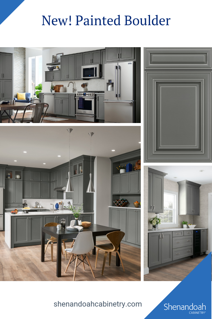 We Have Added A New Darker Gray To Our Pallet Painted Boulder Goes Well With Natural Materials Like Mar Lowes Kitchen Cabinets Kitchen Remodel Grey Kitchens