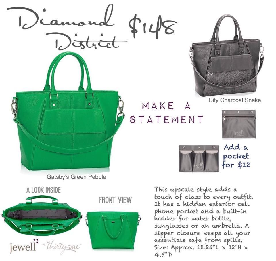 Jewell By Thirty-One Diamond District! Love the Gatsby Green color ...