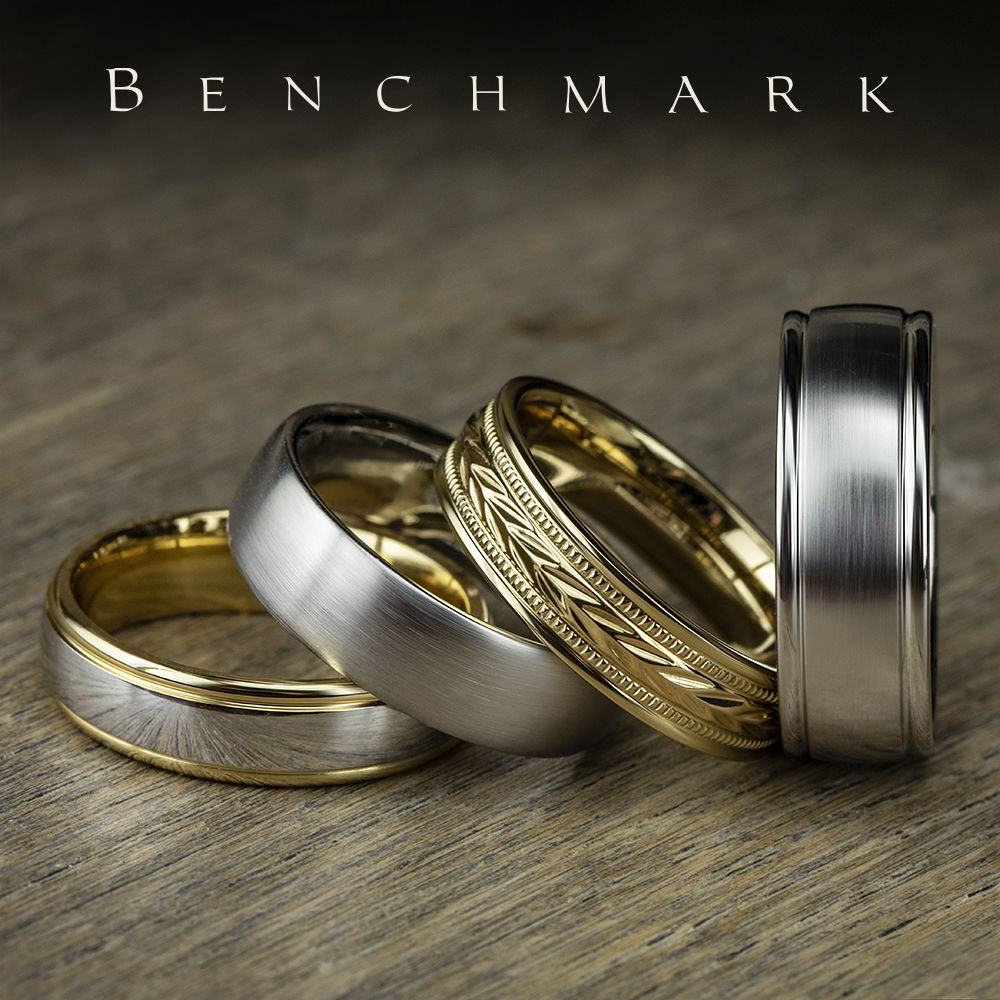 6mm Yellow Gold Men S Wedding Ring With A White Gold High Polish Center Cf15608 6 5mm White Mens Wedding Rings Gold Mens Gold Wedding Band Mens Wedding Rings