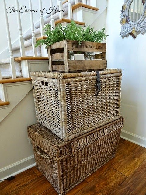 the essence of home stacked trunks home and yard diy ideas in 2019 wicker bedroom painting. Black Bedroom Furniture Sets. Home Design Ideas