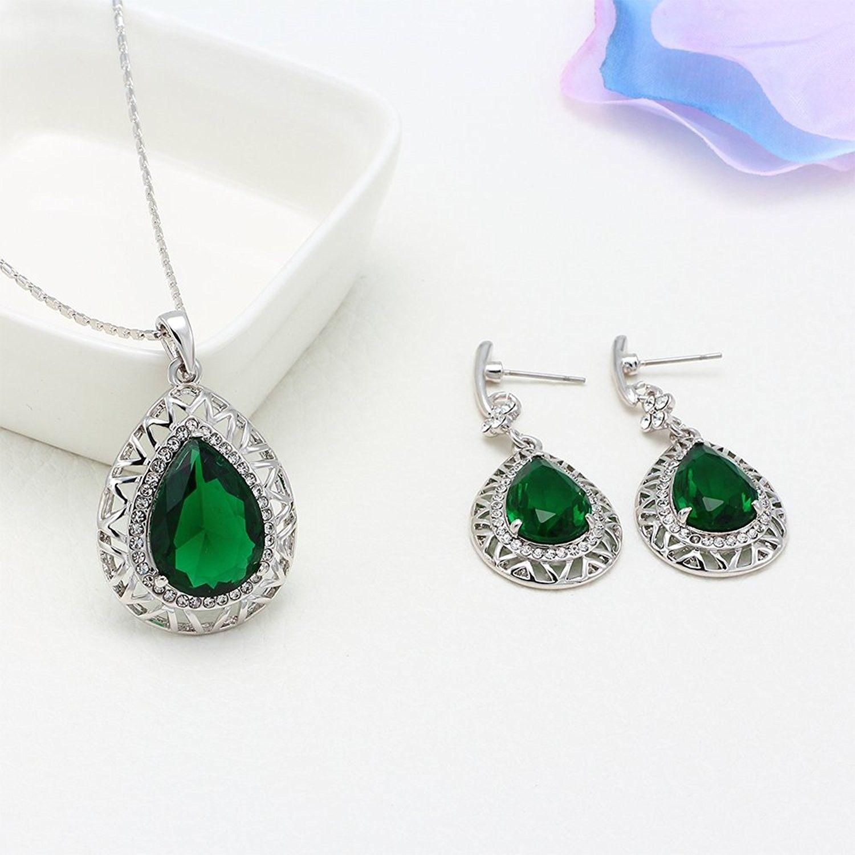 Silver tone emerald cubic zirconia dangle earrings pendant necklace