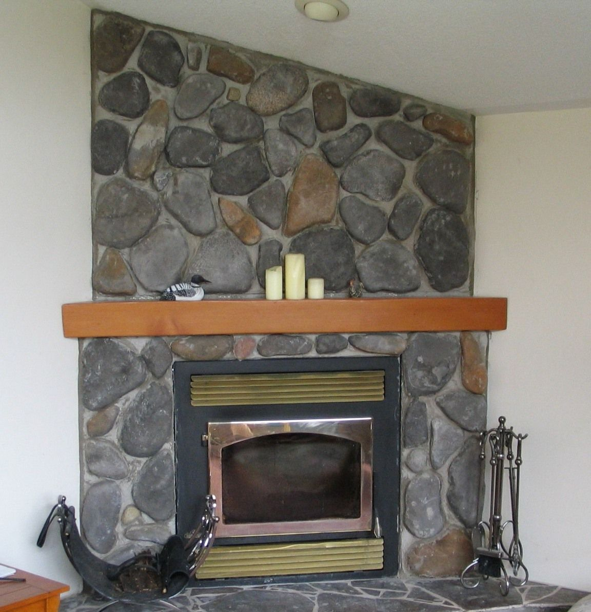 wood stove inserts fieldstone fireplace with wood mantle and