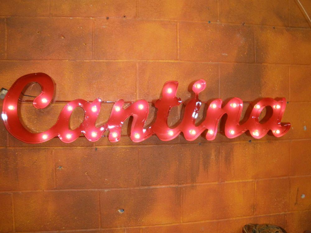 cantina lighted sign-metal-mexican folk art-handmade-restaurant