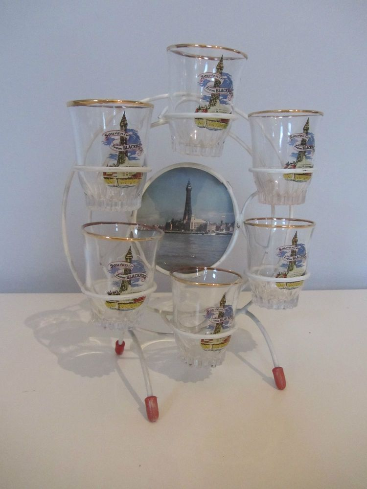 Retro blackpool 60s ferris wheel shot glass set  tourist ware drinks bar atomic
