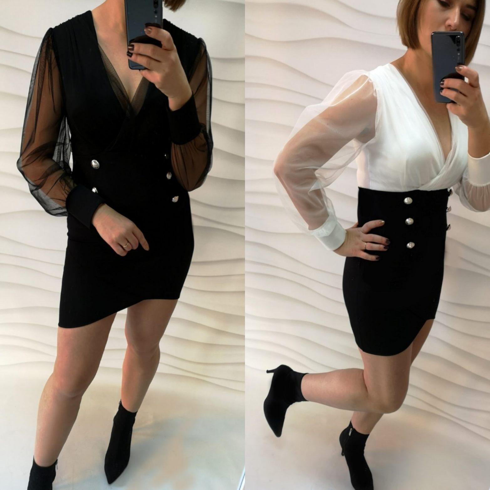 Tiulowa Sukienka Z Bufkami Zlote Guziki Olowkowa Sylwester Impreza Elegancka Sukienka Butik High Waisted Skirt Fashion Bodycon Dress