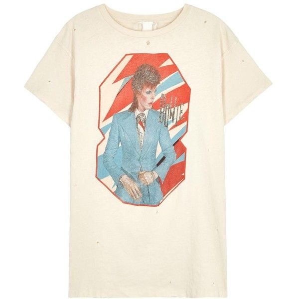 8f626c3ee MadeWorn David Bowie Cream Distressed Cotton T-shirt - Size L ($220) ❤  liked on Polyvore featuring tops, t-shirts, shirts, destroyed t shirt, david  bowie ...