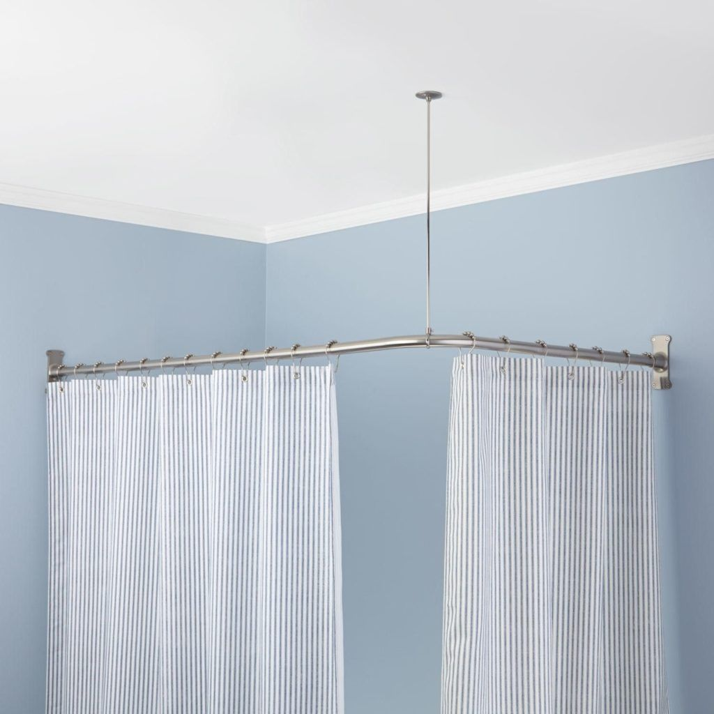 Shower Curtain Rails Square With Images Corner Shower Curtain