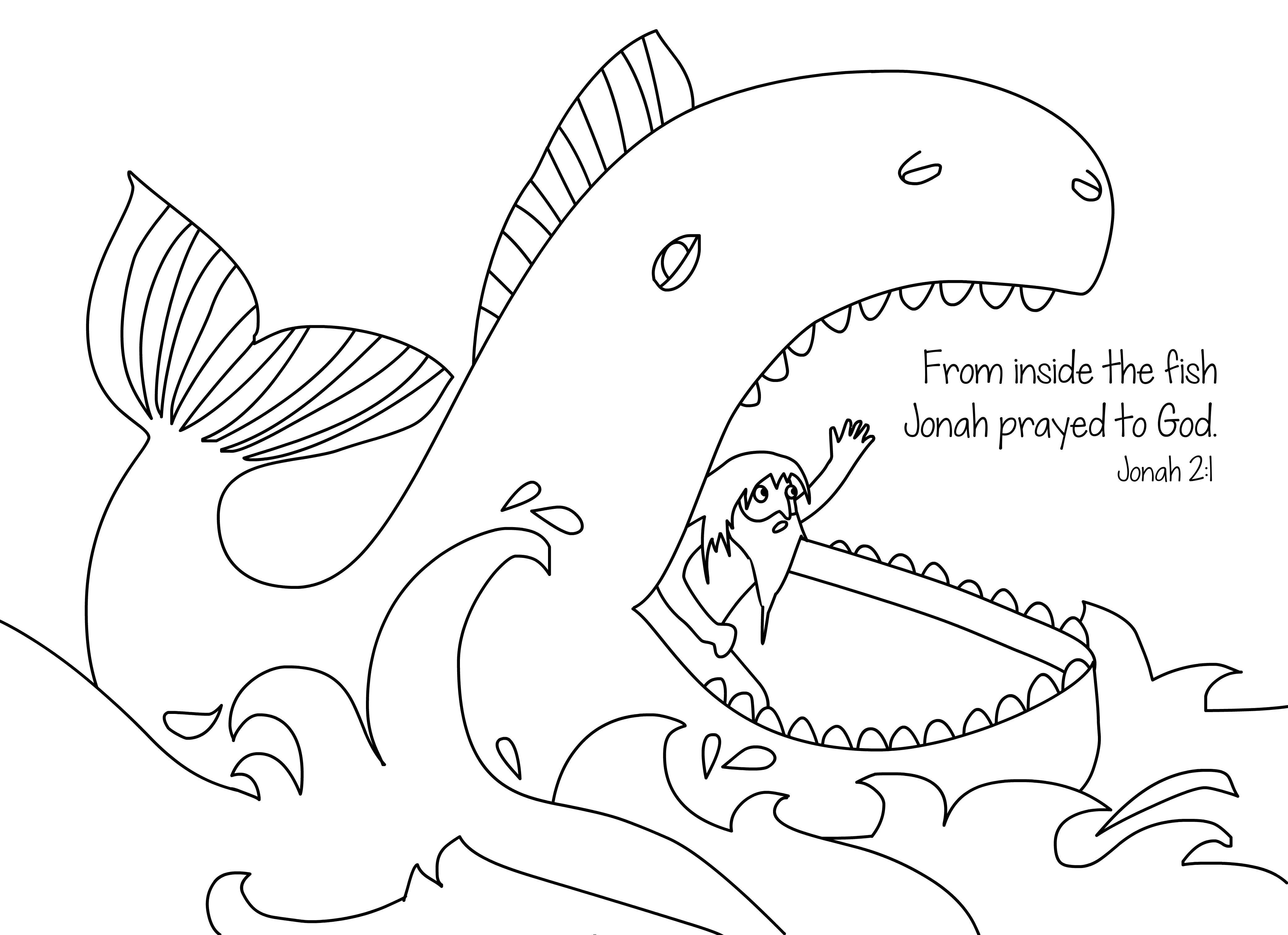 Jonah and the whale free bible coloring page from Cullen\'s Abc\'s ...