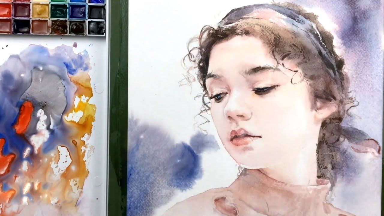 Watercolor Portrait Painting In Process Youtube Watercolor