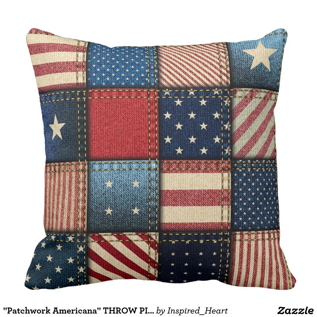 Patchwork Americana  THROW PILLOW   Zazzle com is part of Patriotic pillow, Throw pillows, Patchwork pillow, Pillows, Sewing pillows, Pillow covers - THROW PILLOW 20X20 Coordinating Home Decor Faux Denim Patchwork Americana Theme Distressed Style CUSTOMIZABLE