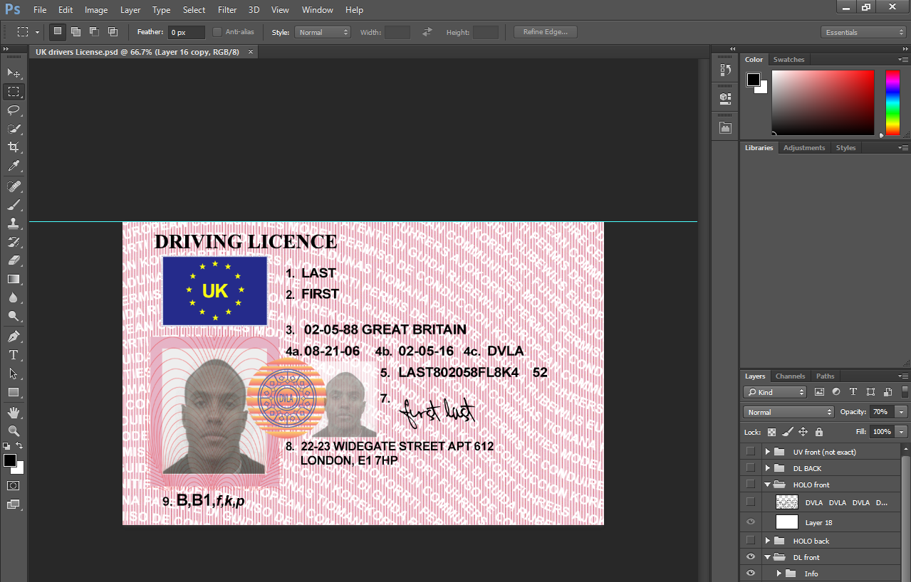 Uk Drivers License Psd Template Projects To Try Pinterest Psd