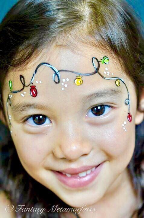 Christmas Lights Face Paint Christmas Face Painting Face Painting Easy Face Painting
