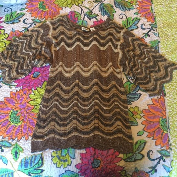 Brown and tan shirt Dressy shirt. Great condition. Worn twice Cato Tops Blouses