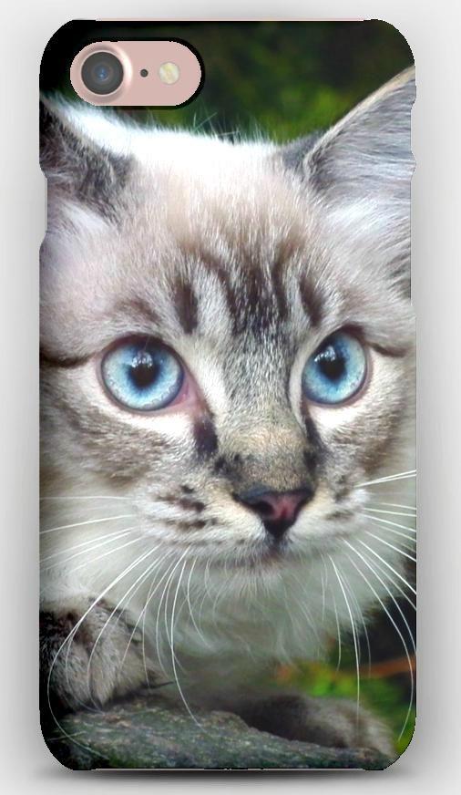 iPhone 7 Case Cat, Eyes, Blue, Branch, Green