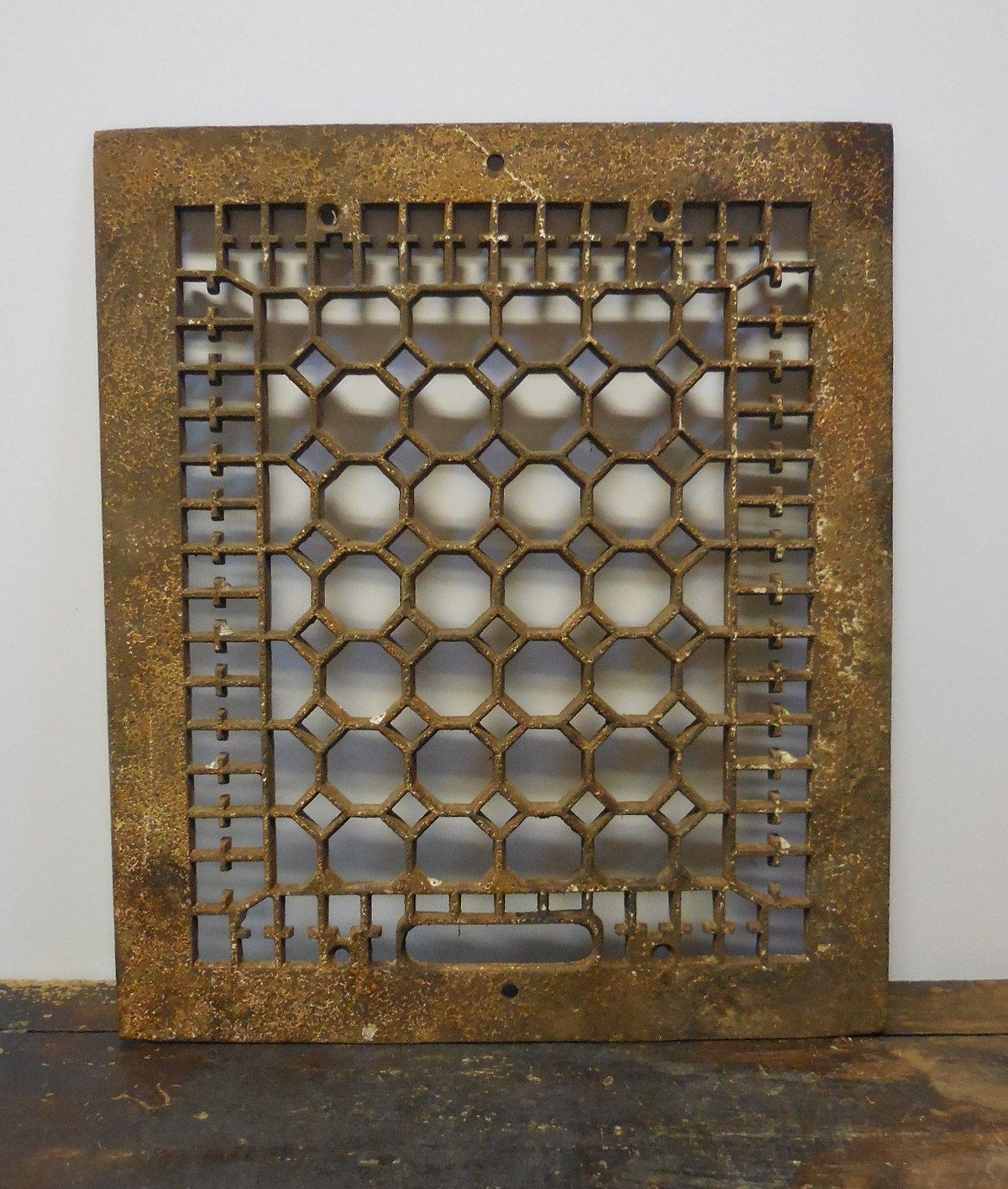 Antique Cast iron Metal Grate Floor Wall  Architectural salvage Cathedral Gothic Decorative 12 x 14 (75.00 USD) by SalvageRelics