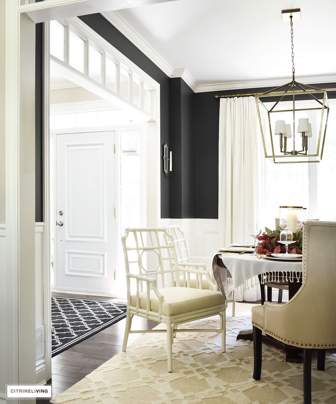 Fall Home Tour Black dining room with