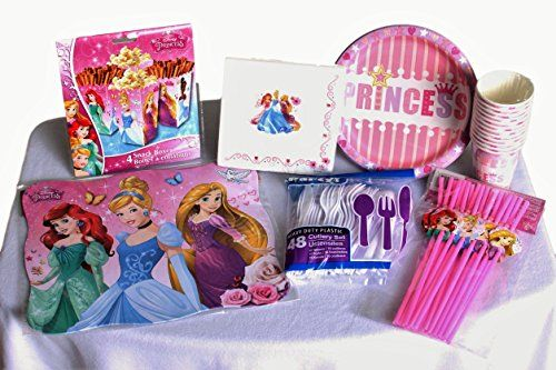 PRINCESS PARTY SUPPLIES  Paper Plates Cups Napkins Snack boxes and Cutlery  Serves 12 >>> You can get additional details at the image link.