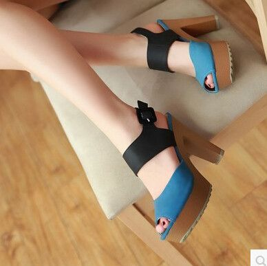 Women new fashion spring Summer open toe ultra 11cm high thick heels sandals color block sandals scrub casual gladiator shoes