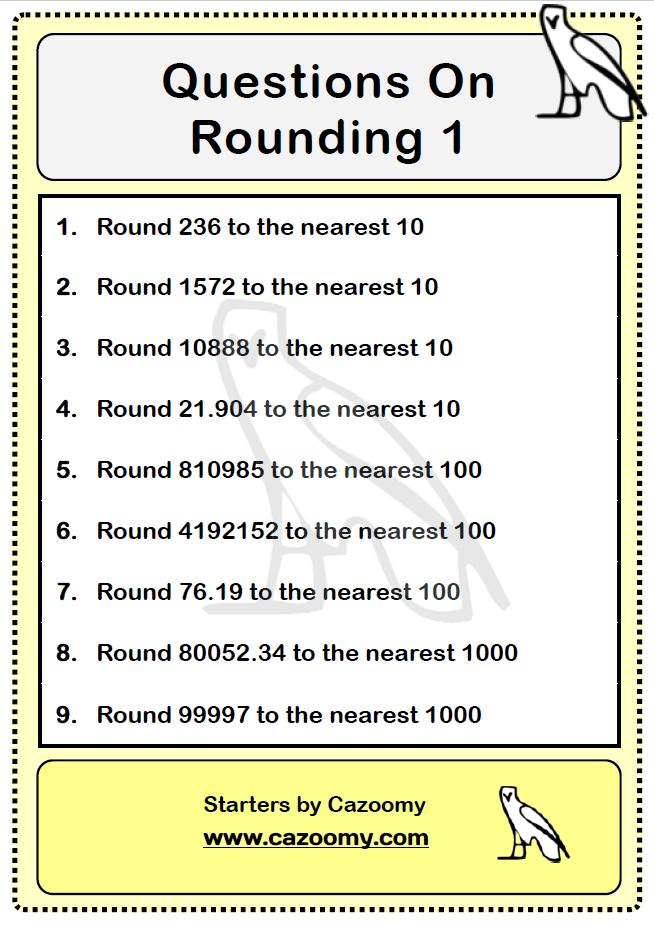 Rounding Questions 1 maths math rounding