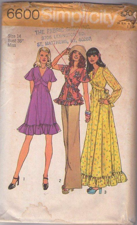 MOMSPatterns Vintage Sewing Patterns - Simplicity 6600 Vintage 70\'s ...