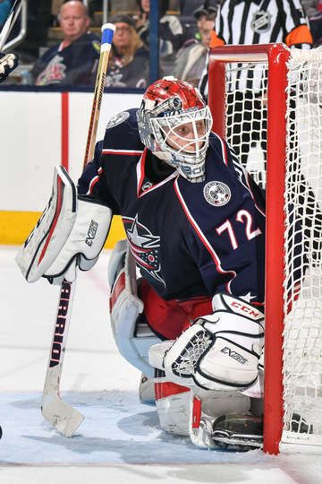 COLUMBUS, OH - OCTOBER 13: Goaltender Sergei Bobrovsky #72 of the Columbus Blue Jackets defends the net against the Boston Bruins on October 13, 2016 at Nationwide Arena in Columbus, Ohio. (Photo by Jamie Sabau/NHLI via Getty Images)