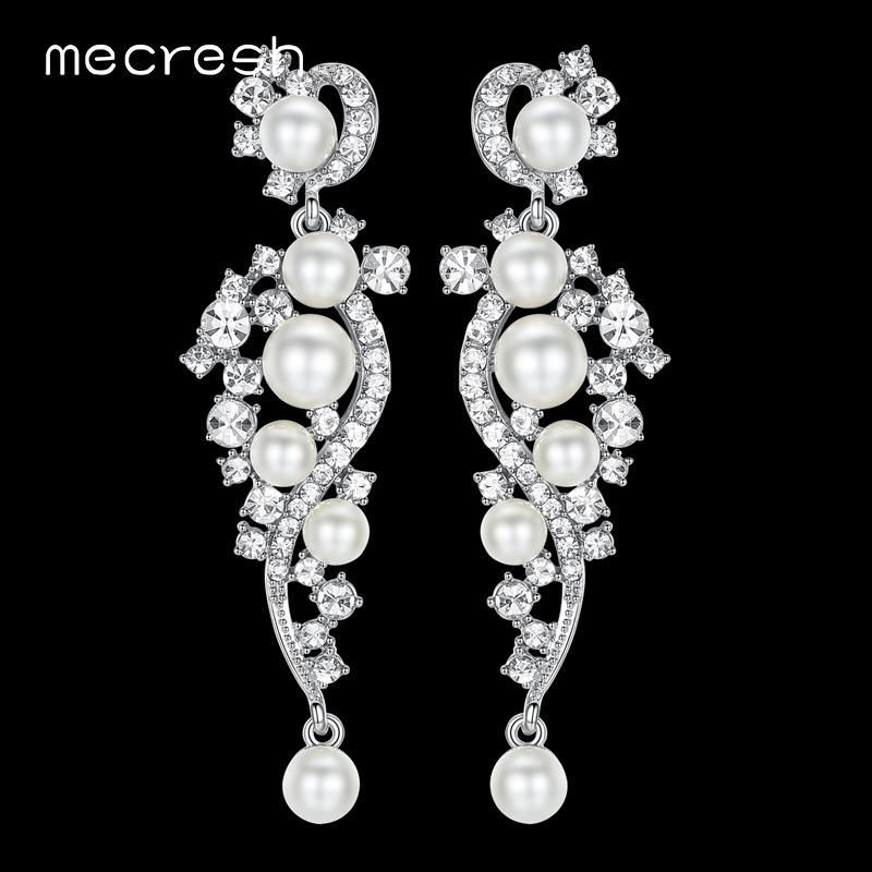 Mecresh Luxury Synthetic Pearl Long Earrings Crystal Plant Silver Color  Dangle Drop Earrings for Women Wedding Jewelry be12a5d16bc8