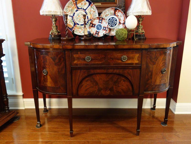 Antique English Mahogany Buffet Sideboard REGENCY Flame