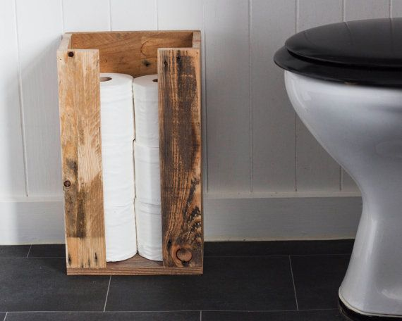 Toilet Roll Storage - Reclaimed wood bathroom storage Salle de