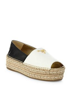 Prada - Two-Tone Leather Peep Toe Platform Espadrilles