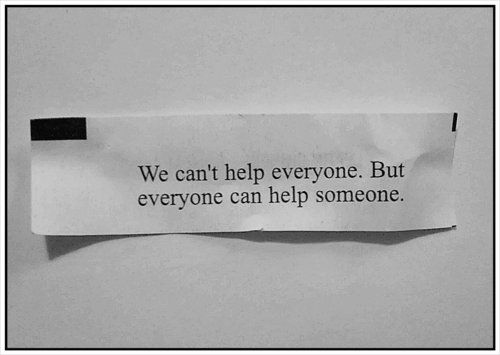 We Can't Help Everyone. But Everyone Can help Someone