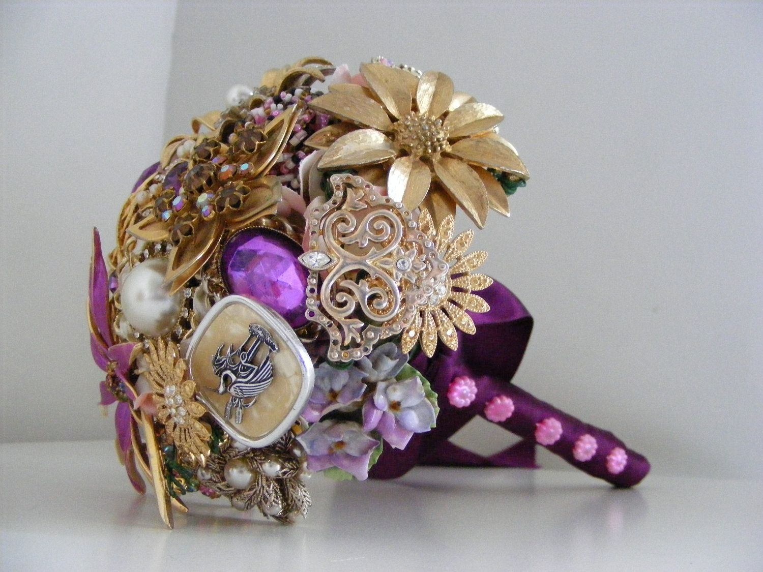 Vintage Brooch Wedding Bouquet In Magenta Pink Purple And Gold