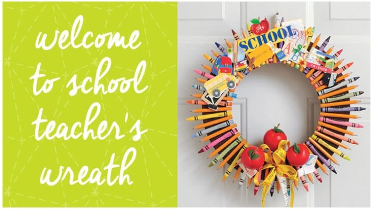 Get off to a good start this year and craft up this fun wreath with the kids to gift to their teacher on the first day of school. Adhere handmade miniature apples, crayons, golf pencils and other school-related embellishments to finish the look.