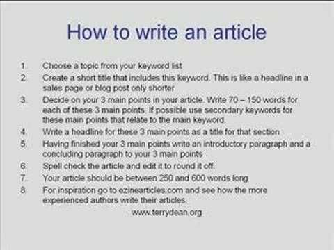 How write an article in english