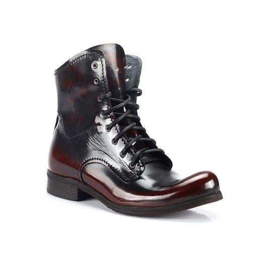 79554ec654 Vínové pánské vysoké kožené boty COMODO E SANO - manozo.cz