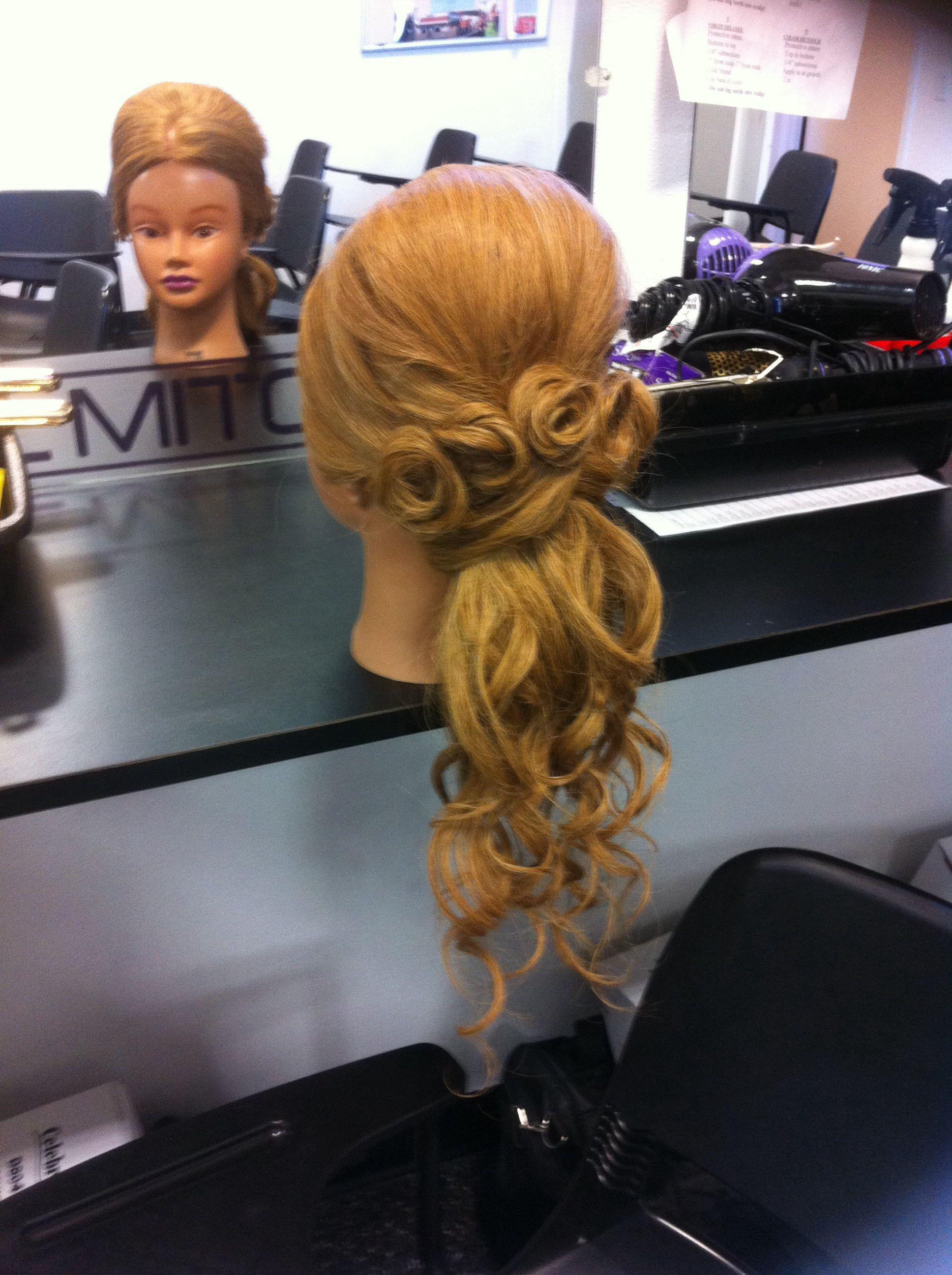 Wedding half up wand pin curl elegant hair pinterest