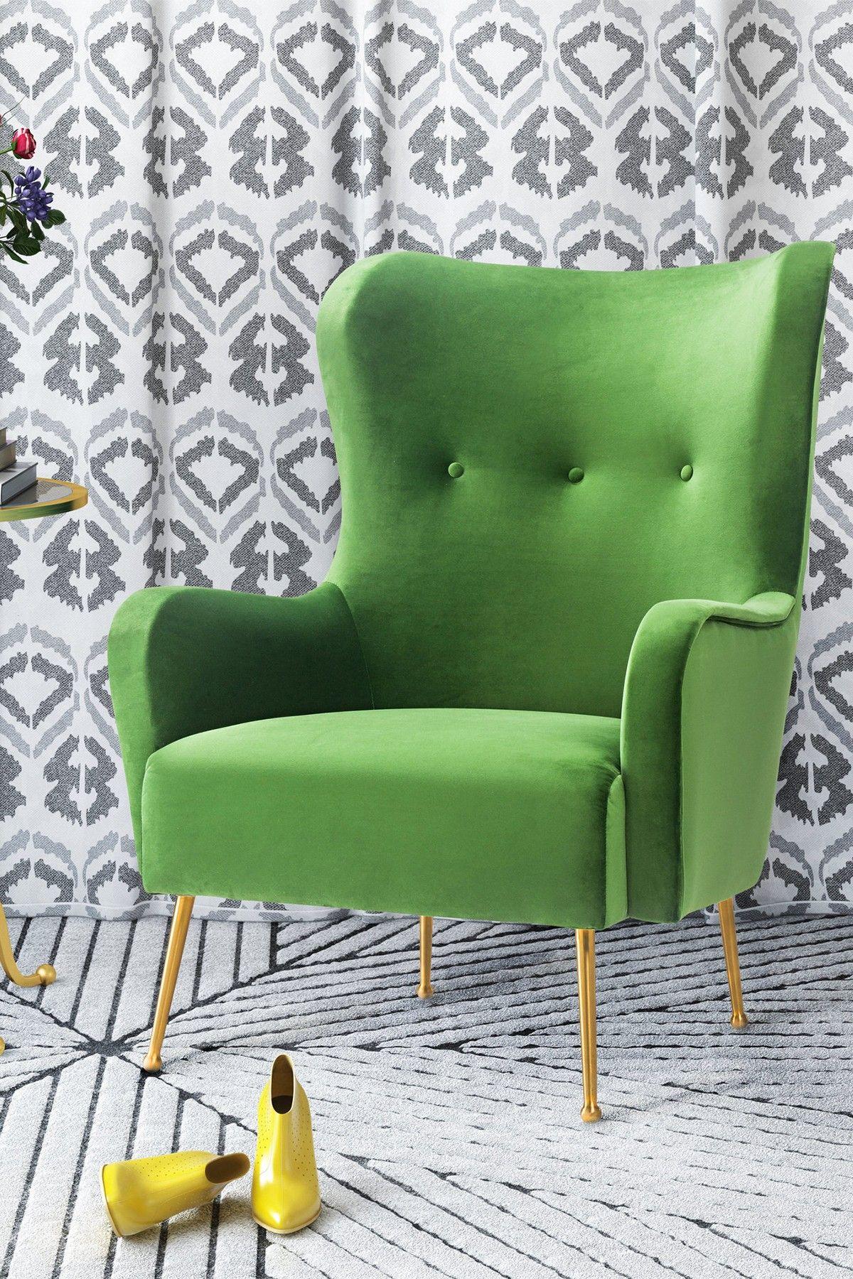 Hautelook velvet wingback chair green velvet chair