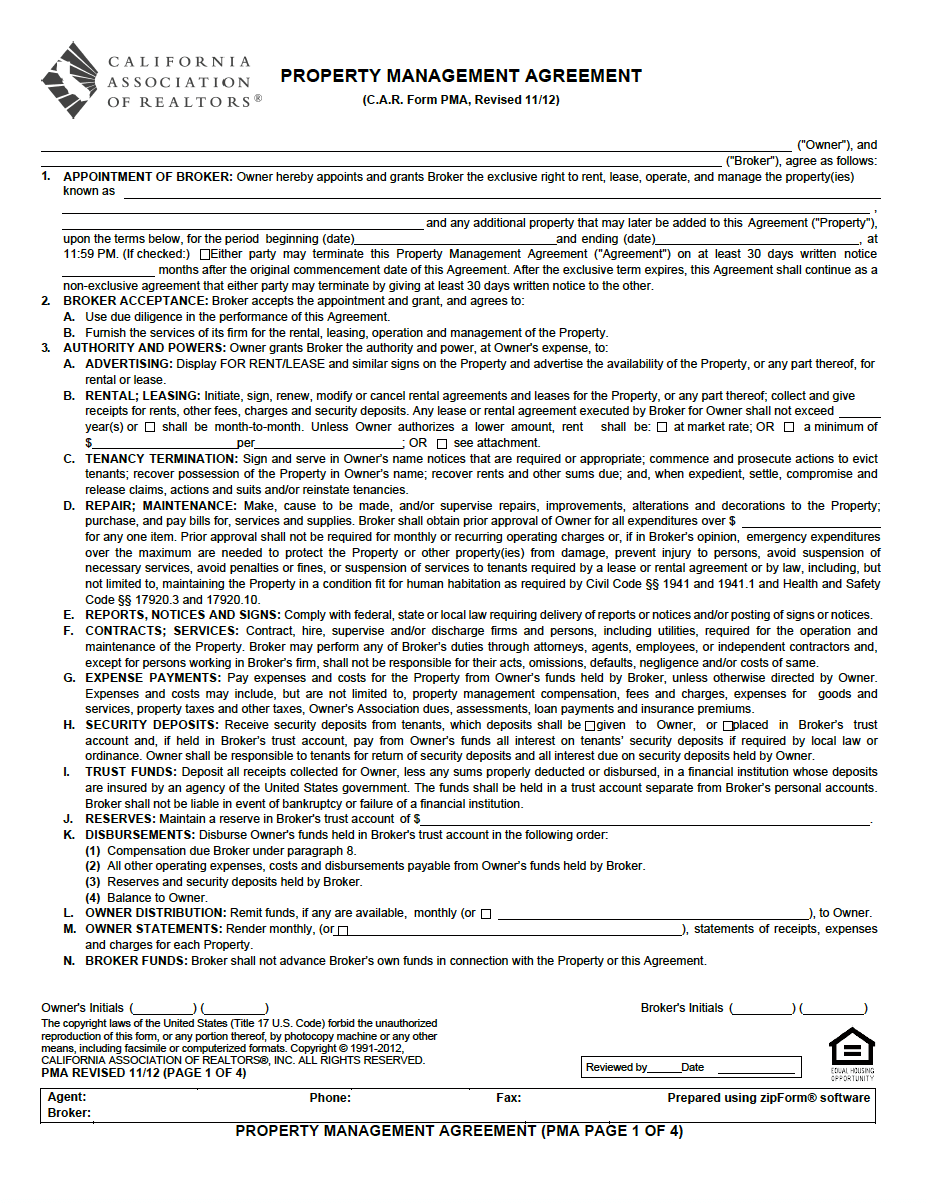 Property Management Agreement Pdf Property Management Forms In