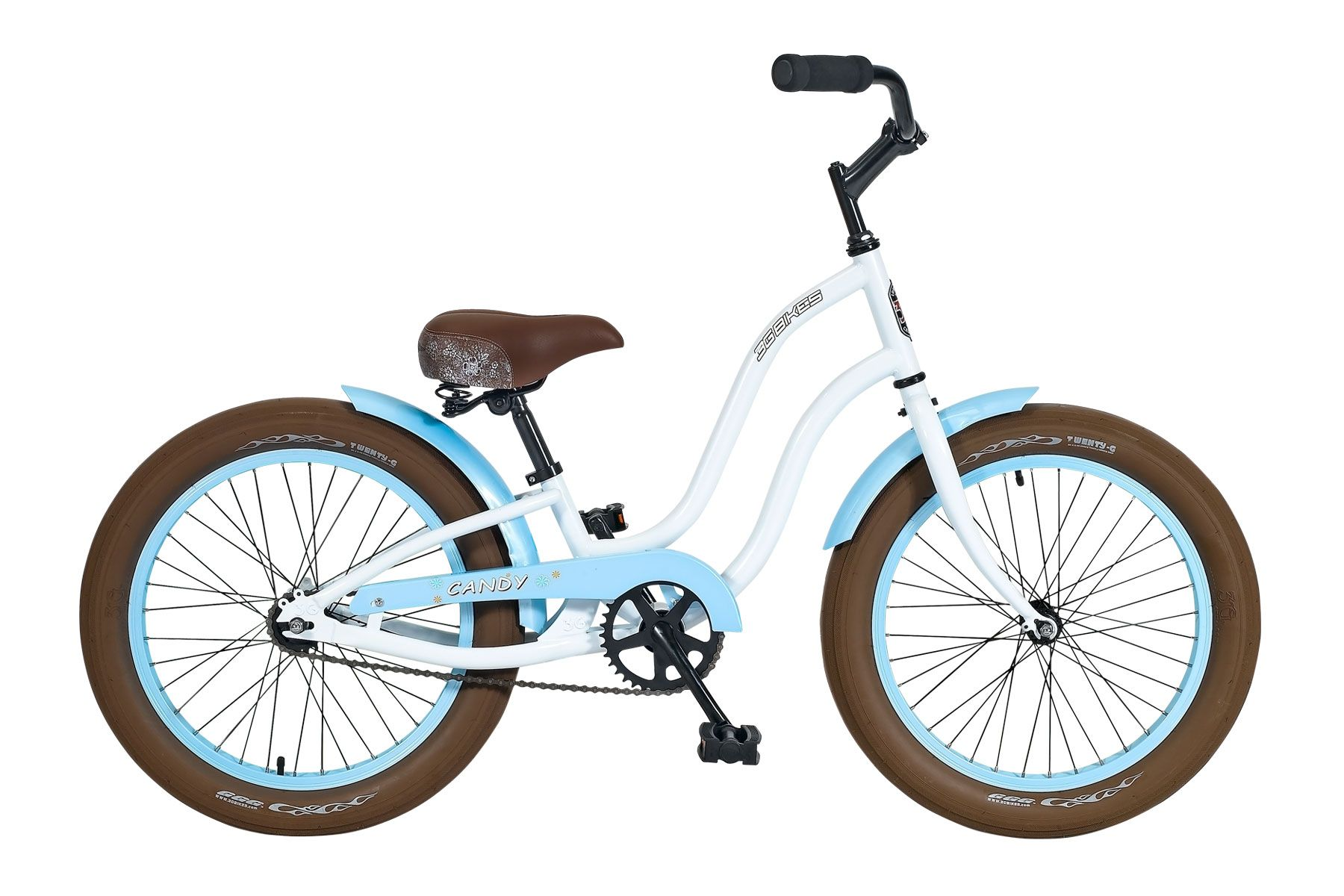 3g Bikes S Candy 20 Beach Cruiser Bicycle In White And Baby Blue