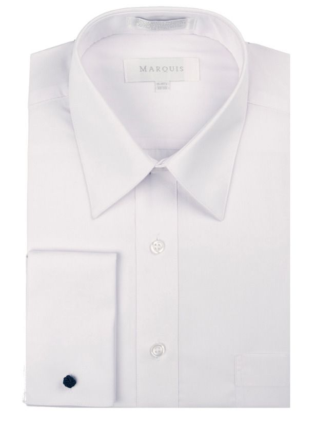 58c783aa2a9b0 Marquis 009F Men s Cotton Blend Classic Fit French Cuff Button Down Shirt  White   Shirts   Pinterest