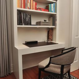 contemporary built in bookshelves desk in study library design rh pinterest co uk