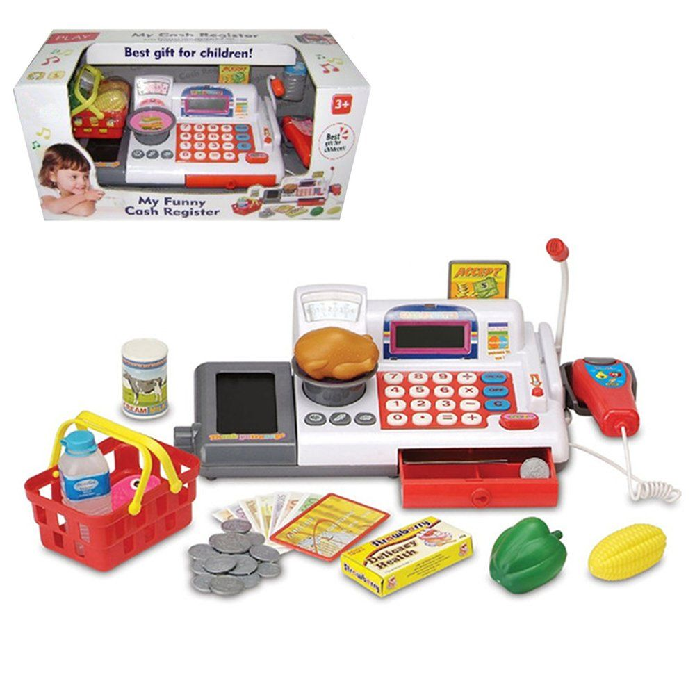 Toy Cash Register With Scanner : Supermarket cash register toy with checkout scanner weight