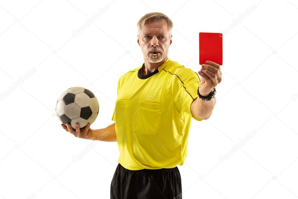 Football Referee Showing A Red Card To A Displeased Player Isolated On White Bac Aff Red Card Showing Football Ad Football Referee Red Card Referee