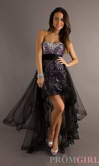 3e13ff8e95c Strapless Sequin High Low Dress at PromGirl.com