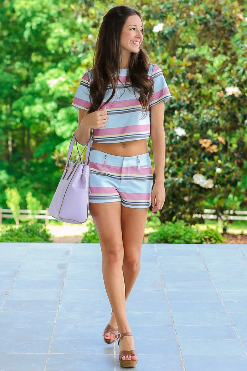 Flannel shirts and shorts  Sincere Style  Striped Crop  Structured Outfit  Matching Set