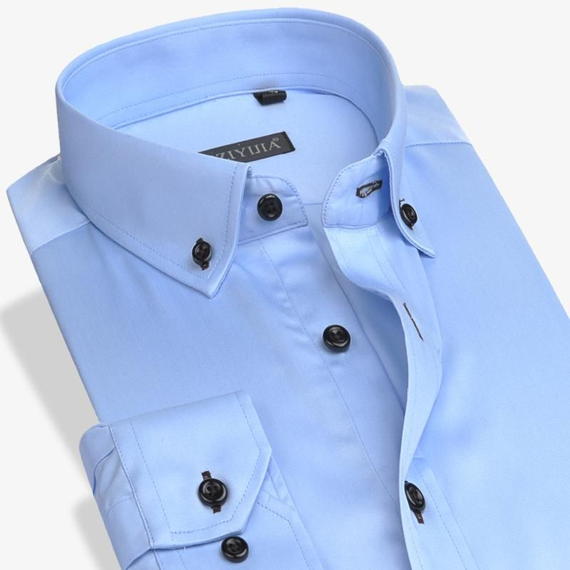 >> Click to Buy << New Men Blue Solid Long Sleeve Dress Shirt Classic Turn-down Collar Business Casual Slim Fit 100% Cotton Non-Iron Formal Shirt #Affiliate